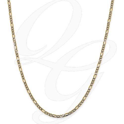 14k 3.2mm Semi-Solid Pavé Figaro Chain