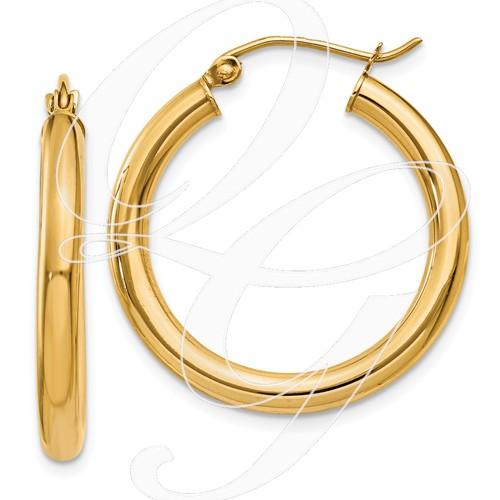 14k 3mm Light Tube Hoop Earrings